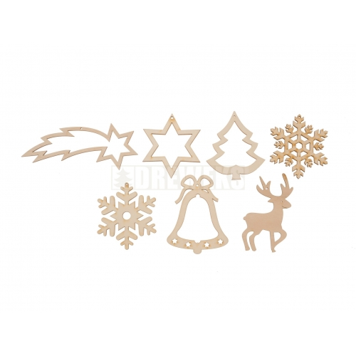 Christmas decorations cut-outs - set of 8 pcs