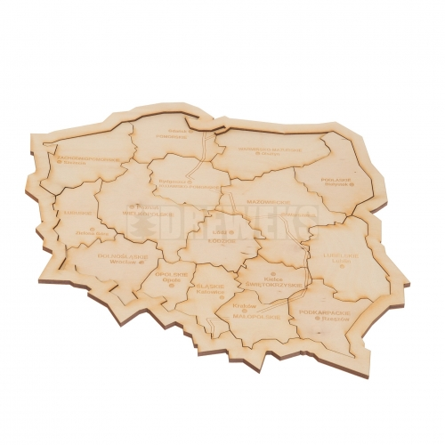 Poland - wooden map
