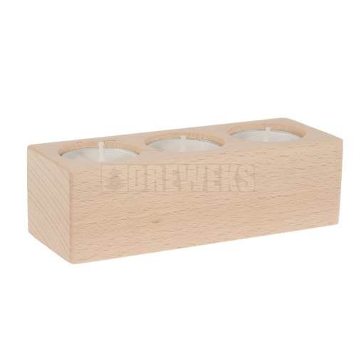 Oak tealight holder for 3 tealight