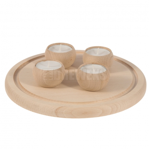 Tealight tray with wooden tealight holders