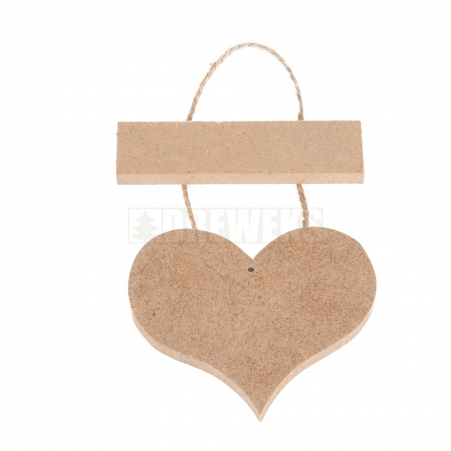 Tag with heart MDF