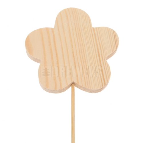 Wooden flower 8cm with stick