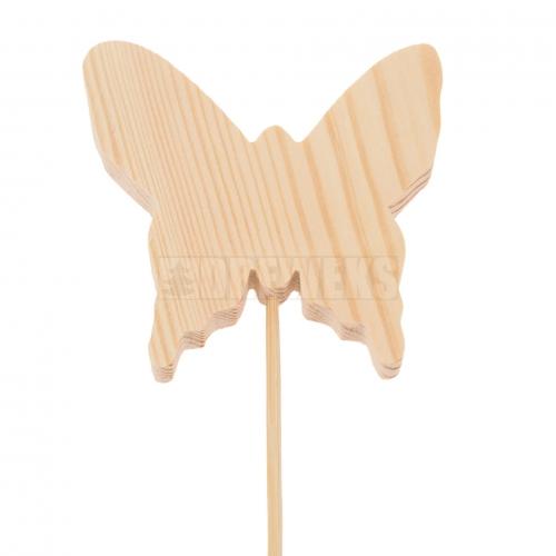 Motylek drewniany 8cm na piku