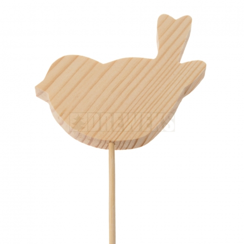 Wooden bird 7/5cm on stick