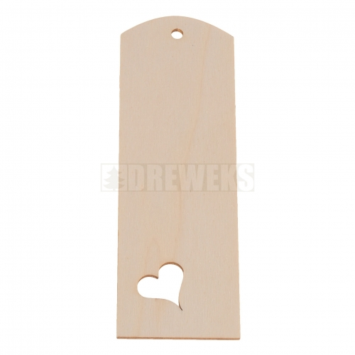 Plywood bookmark - heart