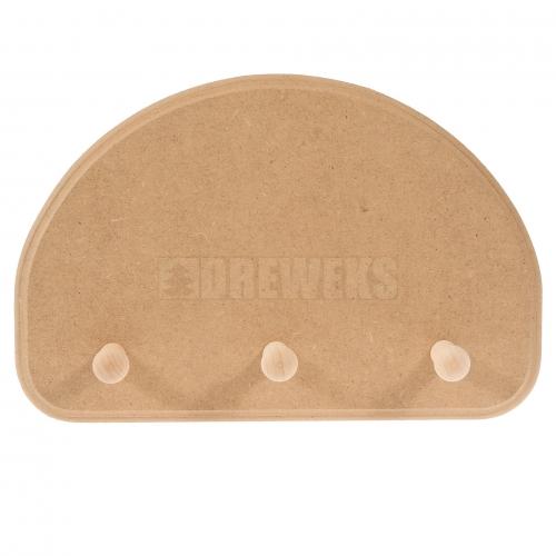 Hanger - 3 pegs/ half-oval/ MDF material