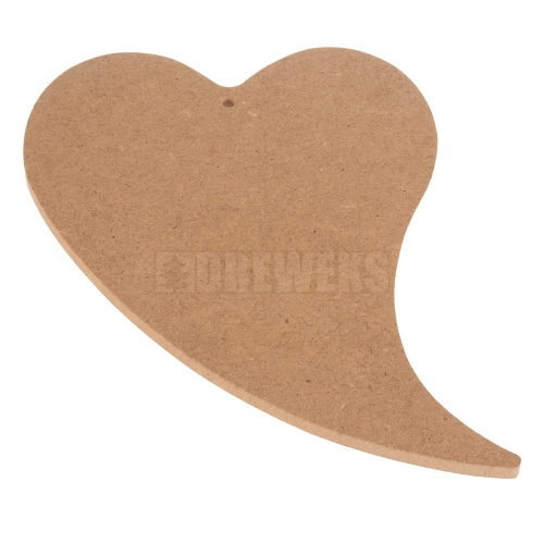 Heart cut-out 240mm - MDF material/ with hole/ twisted shape