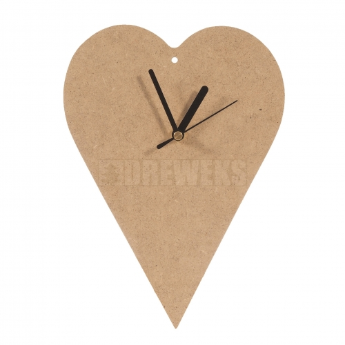 Heart shaped clock 200mm - MDF material