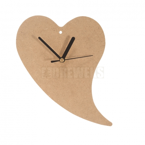 Heart shaped clock 240mm - MDF material/ twisted shape