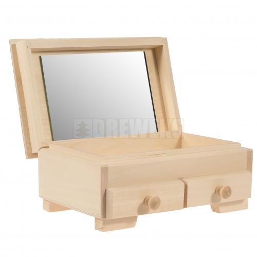 Szkatułka z 2 szufladkami i lustrem