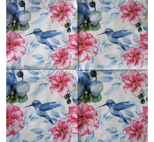 Serwetka - kwiaty i koliber