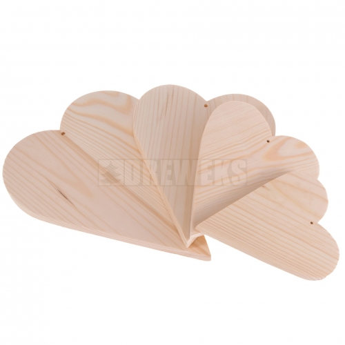 Heart cut-out 250mm - wood/ set of 4 pcs