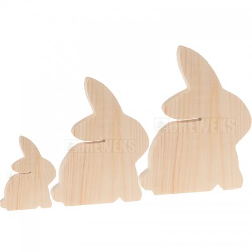 Drewniany królik komplet 3 szt.