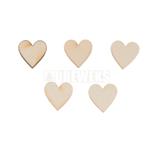 Heart cut-out 20mm - plywood/ set of 5 pcs