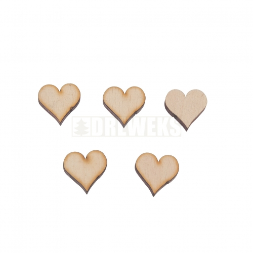Heart cut-out 17mm - wood/ set of 5 pcs