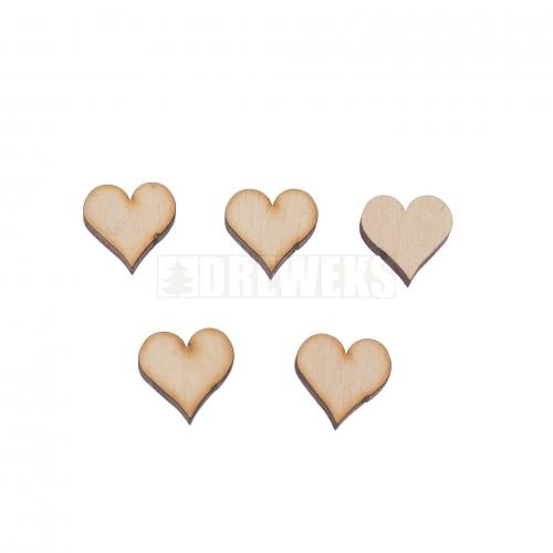 Heart cut-out 17mm - wood/ set of 5 pcs