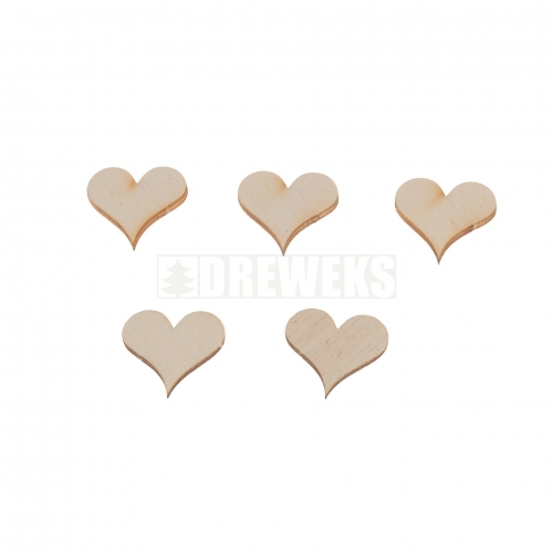 Heart cut-out 15mm - plywood/ set of 5 pcs