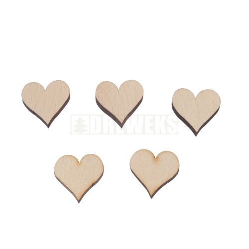 Heart cut-out 25mm - wood