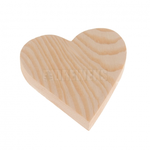 Heart cut-out 90mm - wood/ with hole
