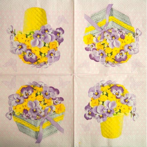 Serwetka - kwiaty w koszyku