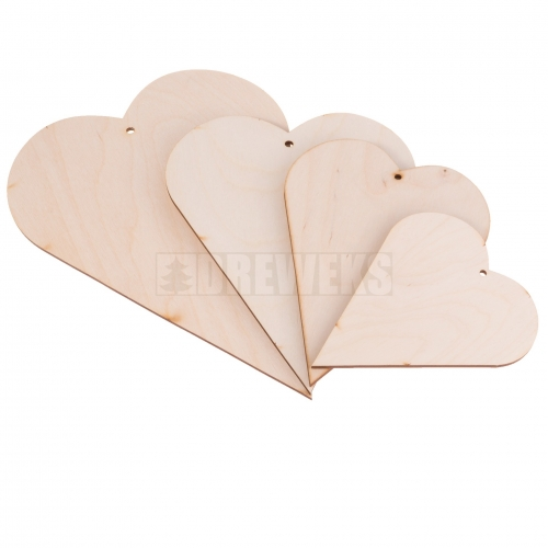 Heart cut-out - plywood/ set of 4 pcs