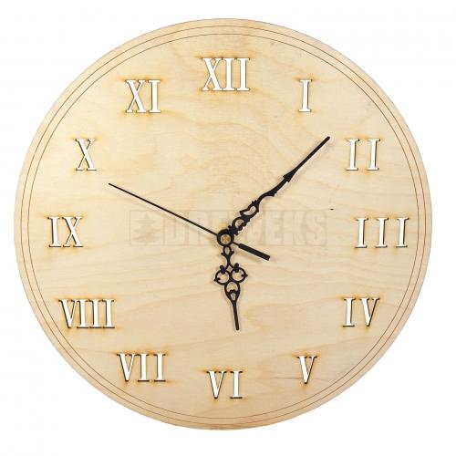 Zegar wycinany ze sklejki