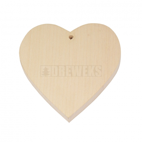 Heart cut-out 115mm - wood/ with hole