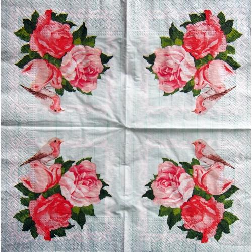 Serwetka - różowe kwiaty