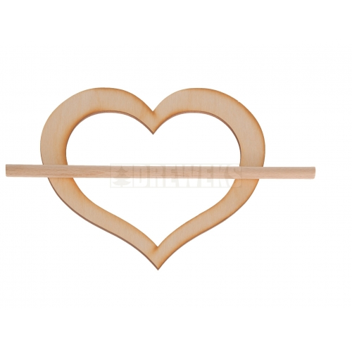Heart shaped curtain clip H130mm - plywood