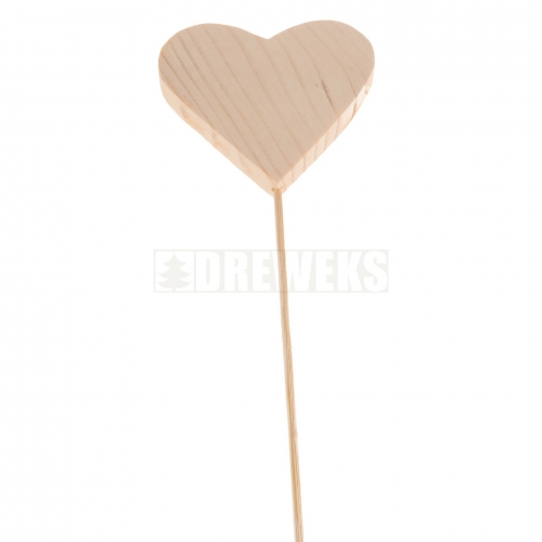 Heart cut-out 70mm - wood/ on stick
