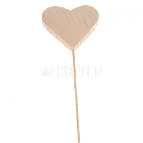 Serce drewniane proste na piku