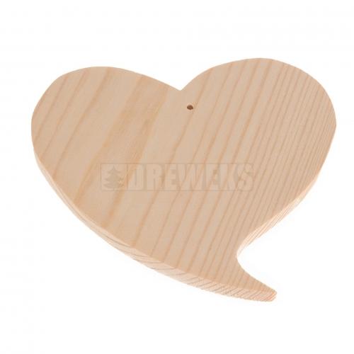 Serce drewniane zakręcone 7cm z dziurką