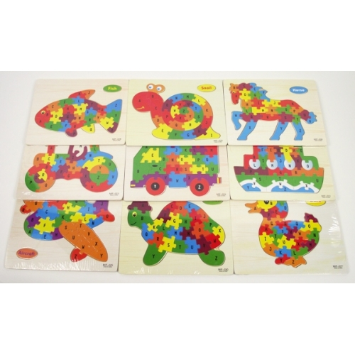 Colorful puzzles in the shape of a truck