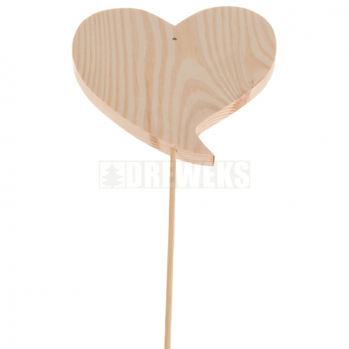Heart cut-out 70mm - wood/ twisted shape/ on stick