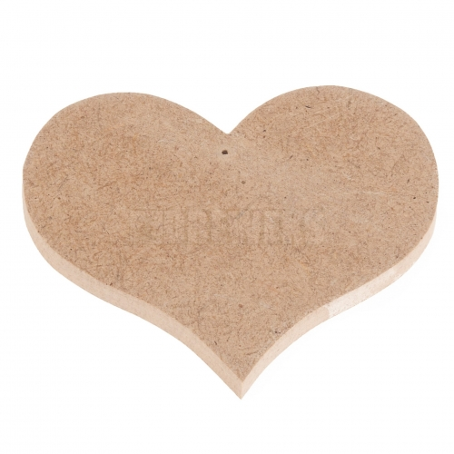 Heart cut-out 65mm - MDF material/ with hole
