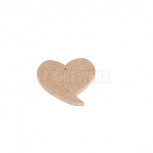 Heart cut-out 75mm - MDF material/ with hole/ twisted shape