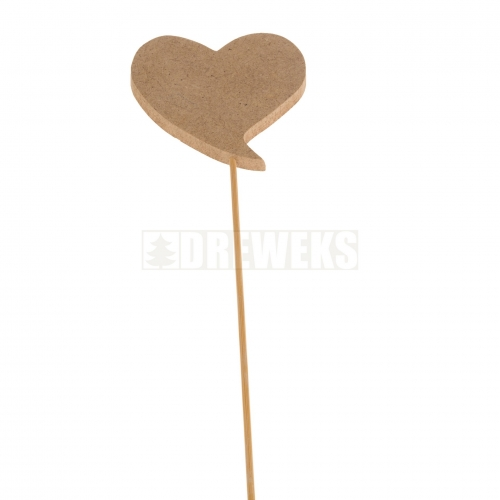 Heart cut-out 75mm - MDF material/ on stick/ twisted shape