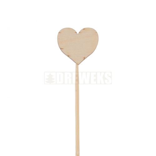 Plywood heart on a stick - 3 cm