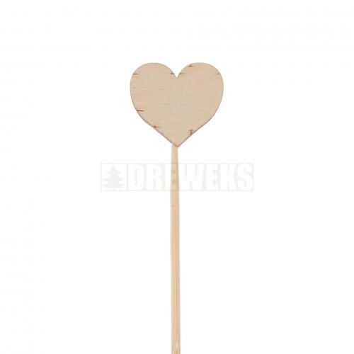 Serce ze sklejki proste na piku - 3 cm