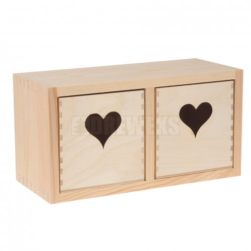 Chest of drawers with hearts - 2 square drawers