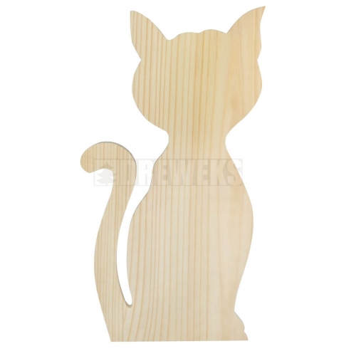 Wooden cat 38cm