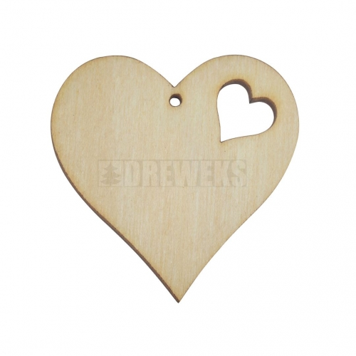 Heart cut-out 40mm - plywood/ with heart shaped hole