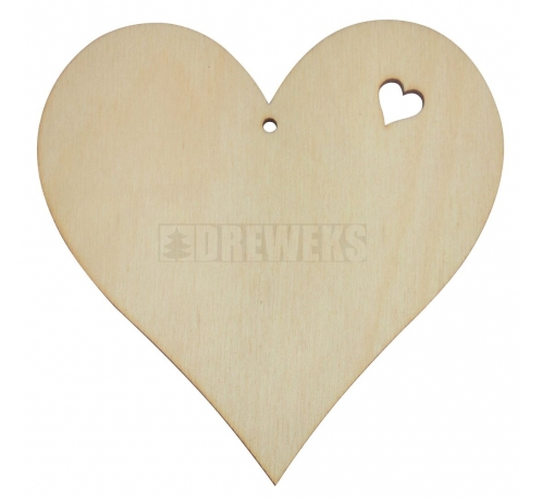 Heart cut-out 100mm - plywood/ with hole