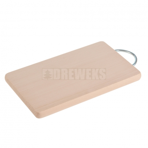 Rectangular cutting board with metal handle