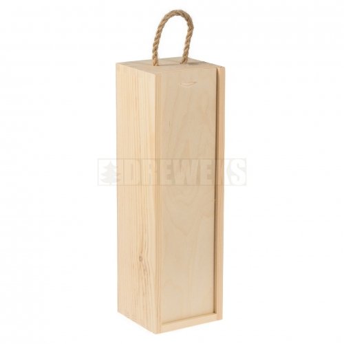 Wine box / sliding lid + rope - 1 bottle