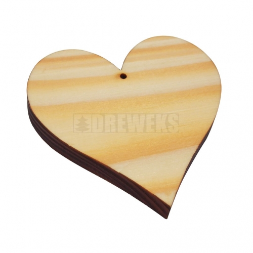 Heart cut-out 70mm - wood/ with hole