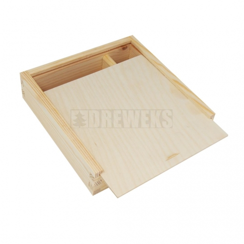 Box for pictures with sliding lid and compartment