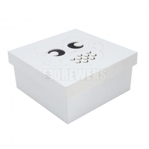 Pudełko / kasetka kwadratowa biała z sową 3 w 1