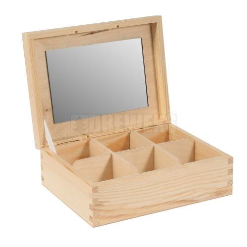 Box / container with mirror - 6 compartments