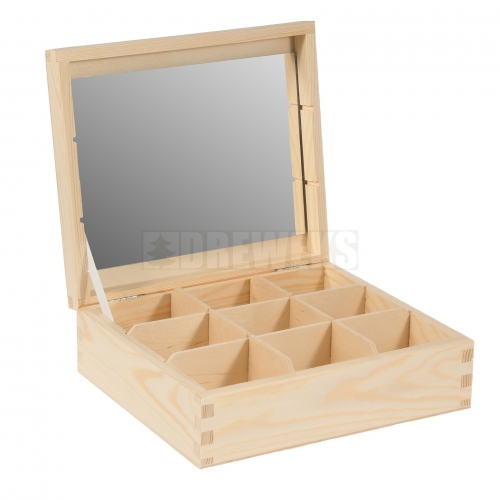 Box / container with mirror - 9 compartments